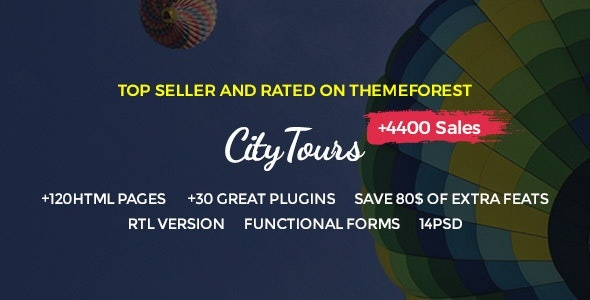 ThemeForest CityTours - Download City Tours, Tour Tickets and Guides HTML Template
