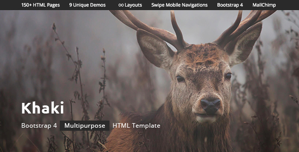 ThemeForest Khaki - Download Multipurpose HTML Template with Bootstrap 4