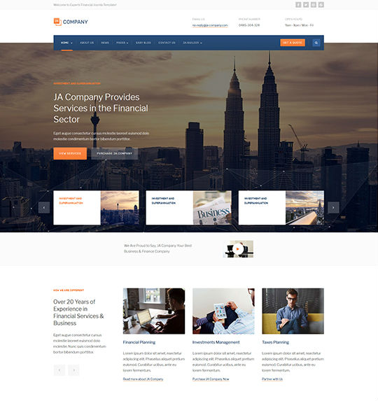 JA Company - Download Corporate and Business Joomla Template