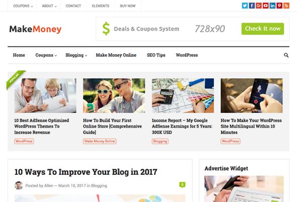 HappyThemes MakeMoney - Download Responsive Blog WordPress Theme
