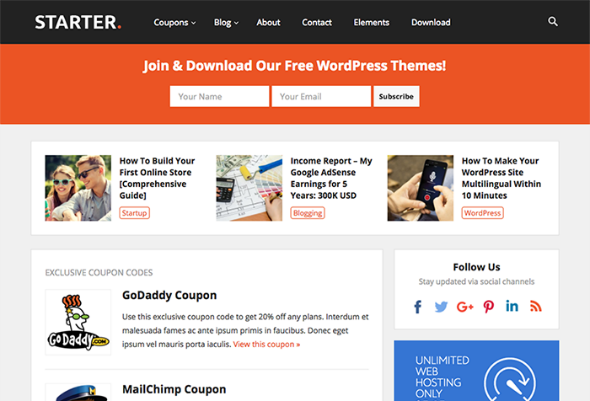 HappyThemes Starter - Download Responsive Coupons/Deals WordPress Theme