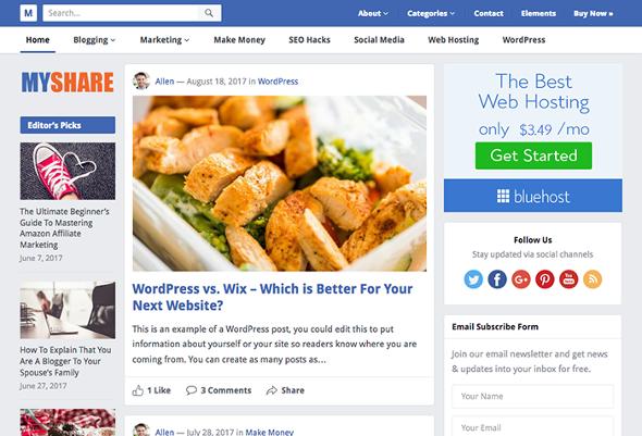 HappyThemes MyShare - Download Creative Blogging WordPress Theme