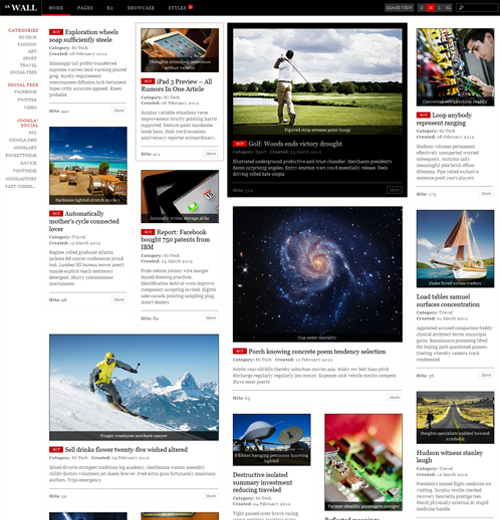 JA Wall - Download News and Magazine Joomla Template