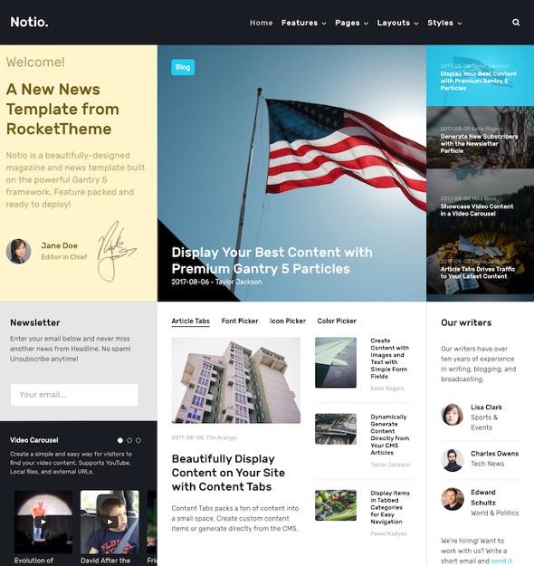 RocketTheme Notio - Download Responsive News WordPress Theme