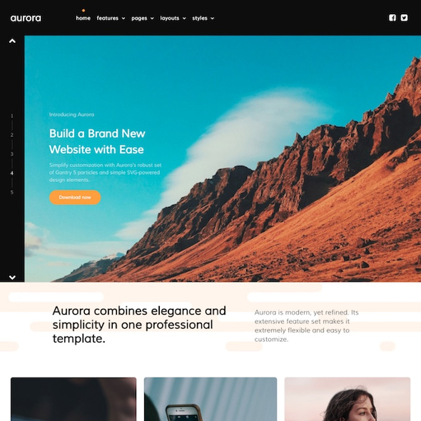 RocketTheme Aurora - Download Responsive Business WordPress Theme