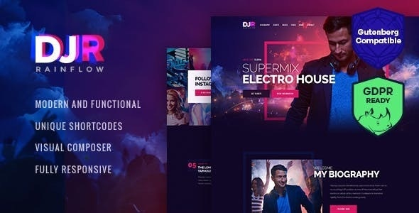 DJ Rainflow - Download Music Band & Musician WordPress Theme