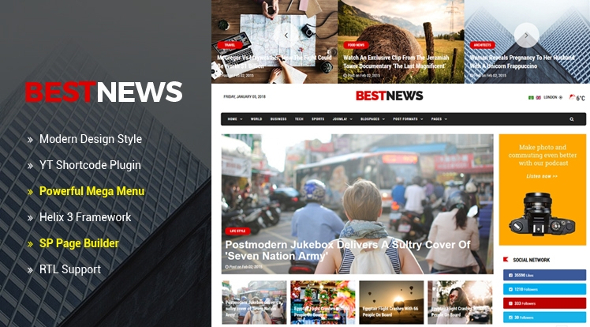 SJ BestNews - Download Premium News & Magazine Joomla Template
