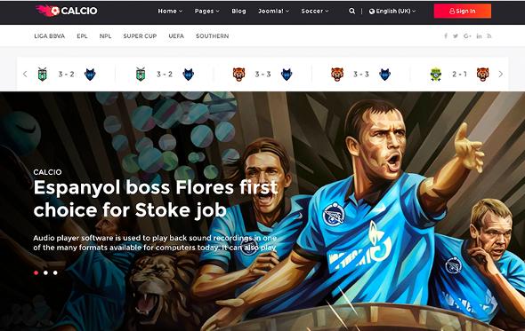 JoomShaper Calcio - Download Joomla Template for Soccer News & Football Club Websites