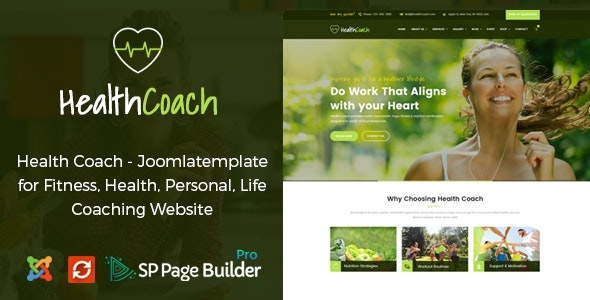ThemeForest Health Coach - Download Joomla Template for Fitness, Health, Personal Life and Coaching
