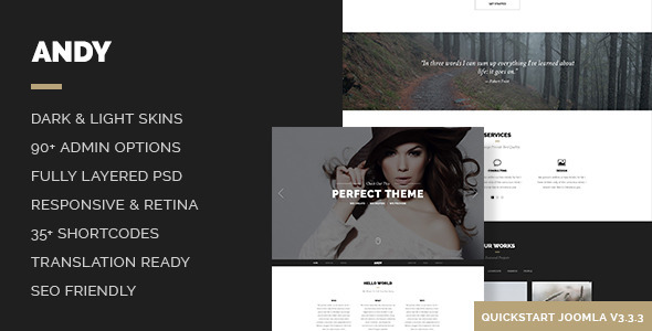 ThemeForest Andy - Download Elegant Creative Minimal One Page Joomla Template