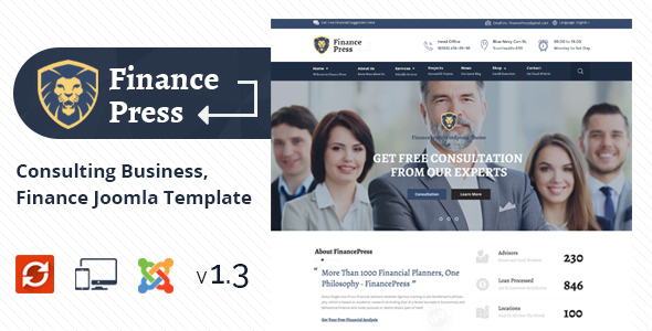 ThemeForest Finance Press - Download Consulting Business, Finance Joomla Template