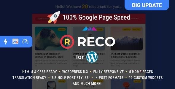 ThemeForest Reco - Download Minimal WordPress Theme for Freebies