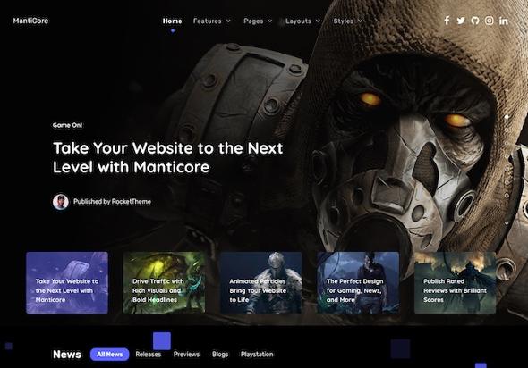 RocketTheme Manticore - Download Gaming Joomla Template