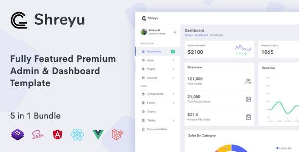 ThemeForest Shreyu - Download Admin and Dashboard, Angular, React, Vue and Laravel Template