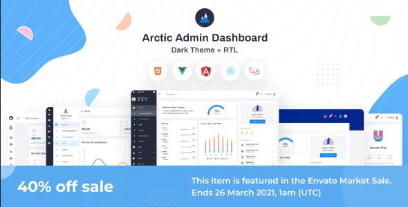 ThemeForest Arctic - Download HTML, VueJs, Angular, React and Laravel Admin Dashboard Template