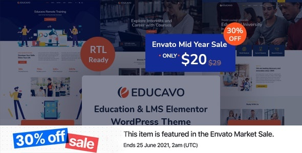ThemeForest Educavo - Download Online Courses and Education WordPress Theme