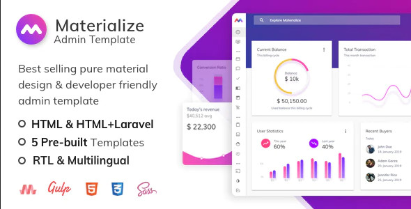 ThemeForest Materialize - Download HTML and Laravel Material Design Admin Template