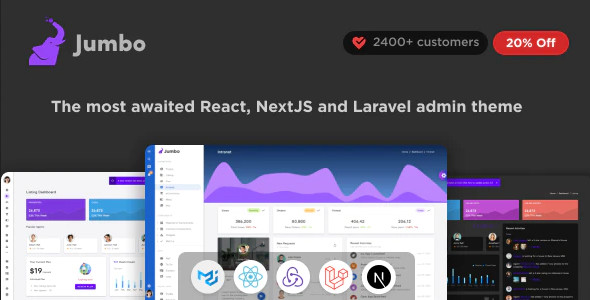 ThemeForest Jumbo - Download React Admin Template with Material-UI
